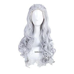 WSJDE Daenerys Targaryen Cosplay Wigs Long Wavy Silver Grey Heat Resistant Synthetic Hair Wig + Wig Cap