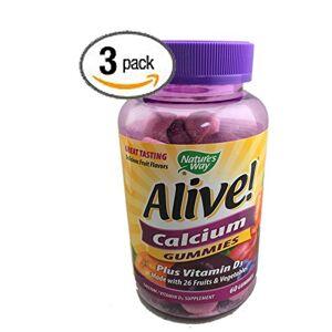 Nature's Way Paquete de 3 Natures Way Alive! Calcium Gummies Plus Vitamin D3-60 gomitas sin gluten y vegetarianas; 180 gomitas de calcio