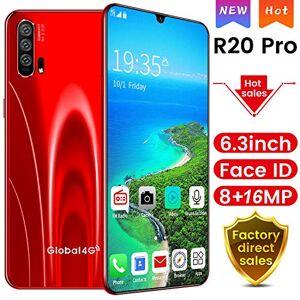 RUN.SE Smartphone con visualización completa y desbloqueo de huellas dactilares con doble tarjeta SIM, cámara HD, Bluetooth, GPS, navegación, alta fidelidad, calidad de sonido, teléfonos móviles, UK Plug(4G Network), Rojo R20 (6.3 pulgadas)