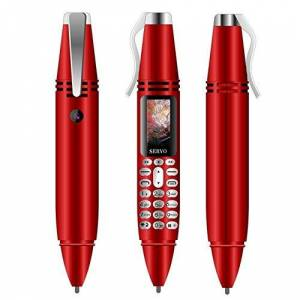 SERVO Mini teléfono celular estilo bolígrafo Bluetooth Dialer 0.96 pulgadas pantalla pequeña teléfono celular soporte GSM Dual SIM Max 32G TF tarjeta con cámara linterna grabadora de voz (rojo)