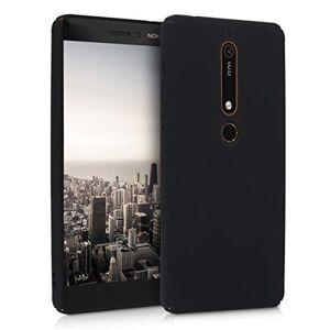 kwmobile Funda Compatible con Nokia 6.1 (2018) Carcasa Trasera de Silicona Cover Duro en Negro