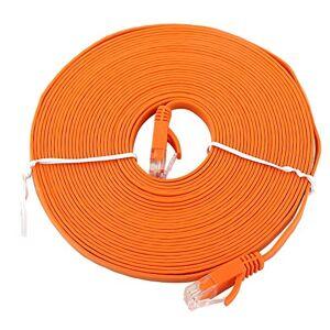 Diyeeni Cable de Red Plano RJ45 Gigabit CAT6, Parche de Cable UTP, Cable de Enrutador Naranja(8 m)
