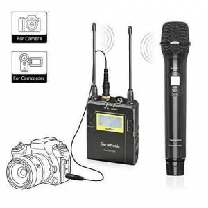 Saramonic Uhf Wireless Handheld Type Microphone System with 2-Ch Receiver Professional Video Microphone (UwMic9RX9HU9)