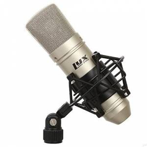 LyxPro Micrófono de Estudio de Condensador cardioide LDC-10 con Soporte Amortiguador y Cable para grabación doméstica Profesional
