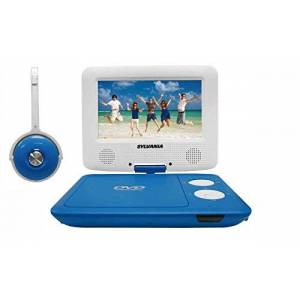 Sylvania SDVD7043-BLWHT 7-Inch Portable DVD Player with Matching Oversize Headphones (Blue)
