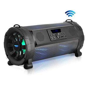 Pyle Bluetooth Boombox Street Blaster Stereo Speaker Portable Wireless 300 Watt Power FM Radio / MP3 System w/Remote, LED Lights & Rechargeable Battery PBMSPG190