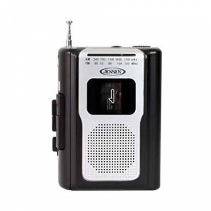 Jensen Reproductor de Cassette Personal, Radio Am/FM, portátil, diseño Compacto, Ligero, estéreo, Radio Am/FM, Reproductor de Cassette/grabadora y Altavoz Integrado (Negro)