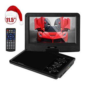 YOOHOO Reproductor de DVD portátil con batería Recargable de 6 Horas, visualización giratoria, Mando a Distancia, soporta Tarjeta SD, Puerto USB y múltiples formatos de Disco