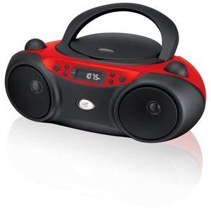GPX , Inc. Portacasetera para CD de carga superior con radio AM/FM y entrada de línea de 3.5 mm para dispositivo MP3, rojo/negro