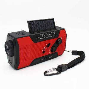 OUYAWEI Radio Solar con manivela para emergencias con Linterna LED Am/FM, Banco de energía de Lectura y Alarma SOS, Rojo