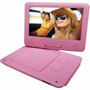 Sylvania 9-Inch Swivel Screen Portable DVD/CD/MP3 Player with 5 Hour Built-In Rechargeable Battery, USB/SD Card Reader, AC/DC Adapter, Pink