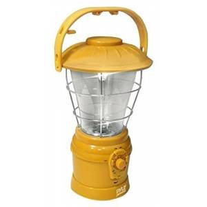 Pyle PSDNL22YL Multi Function Hand Crank LED Lantern with AM/FM Radio and Built-In Rechargeable Battery (Yellow)