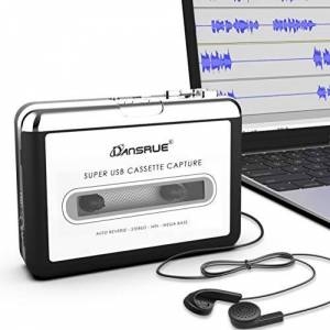 Dansrueus Reproductor de Cassette USB, convertidor de Cinta de Casete a MP3 Retro Walkman de Captura de Cinta de Audio a MP3 para Mac PC portátil con Auriculares Cable USB y Software