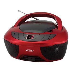 Jensen CD-475R Reproductor de CD portátil con Radio Am/FM y Entrada Auxiliar y Conector para Auriculares, Color Rojo