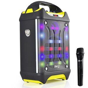 Pyle Wireless PA System Karaoke Speaker Flashing DJ Lights, Built-in Rechargeable Battery,Bluetooth Wireless Microphone, Recording Ability, MP3/USB/SD/FM (PWMA275BT)