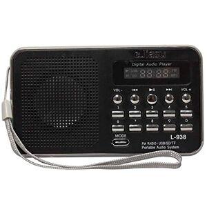 Gtide Mini Digital FM de música USB portátil de tarjetas Radio Soporte de audio MP3 Player TF / Puerto USB con pantalla LED de visualización / linterna / antena de radio para el iPhone iPod PC (Negro)