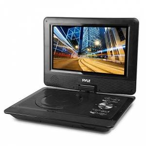 """Pyle Upgraded 10"""" Portable DVD Player, CD Player, Swivel Angle Adjustable Display Screen, USB/SD Card Memory Readers, Headphone Jack, Built-in Rechargeable Battery w/ Remote Control. (PDV101BK)"""