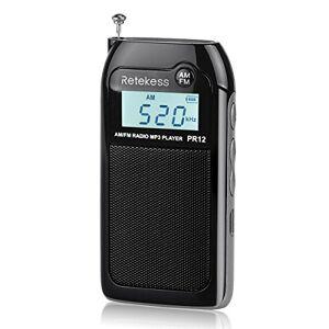 Retekess PR12 Radio FM portátil con Reproductor de música MP3 (batería Recargable), Color Negro, Negro