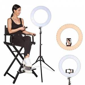 """INKELTECH 18""""/46cm Outer 60W Dimmable LED Ring Light Kit with Light Stand,Adjustable 3000K-6000K Color Temperature for Makeup,Photography,YouTube,Selfie,Camera,Knob&Remote Control Black"""