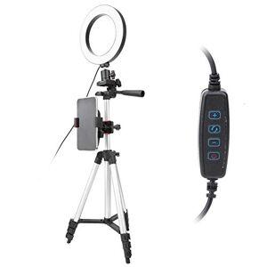 Pomya Anillo de luz LED, Kit de lámpara de cámara de luz de Anillo de Video LED Regulable de 6 Pulgadas con Soporte para teléfono móvil con trípode Puerto USB