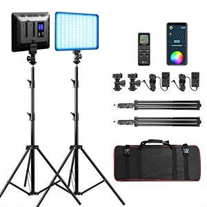 Weeylite Paquete de 2 luces de vídeo RGB con control de aplicación/mando a distancia/soporte de luz, 2500K-8500K 360  a todo color 17 tipos de escenas, modo de fotografía, video kit de iluminación para YouTube Studio Portrait Video Shooting