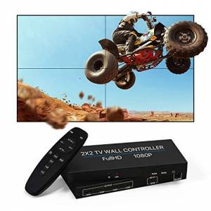 NIERBO 2 x 2 driver de pared de vídeo, visualización HD 1080P @ 60 Hz, rotación de 180 grados, 8 modos de visualización  2 x 2, 1 x 2, 1 x 3, 1 x 4, 2 x 1, 3 x 1, 4 x 1, entrada y salida HDMI