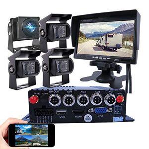 JOINLGO 4-CH GPS WiFi 1080P AHD vehículo móvil DVR MDVR Kit de grabadora de vídeo remoto en el teléfono PC con visión nocturna IP69 2.0MP cámara de visión lateral trasera para camión, autobús RV