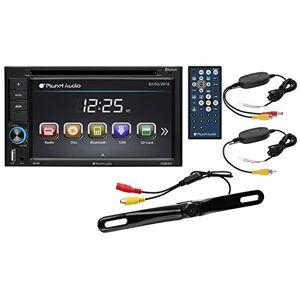 Planet Audio P9628B Estéreo para coche, pantalla táctil de 6.2 pulgadas (15,7cm), doble DIN, USB/MP3/MP4/WMA, receptor AM/FM, control remoto inalámbrico, Cámara posterior inalámbrica, 6.2 oz (183.35 ml)