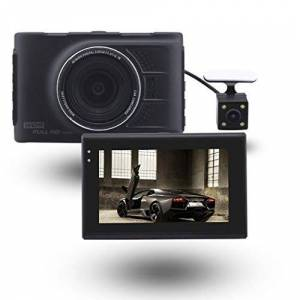 SAN_R Grabadora de Video HD de Doble Lente para automóvil Pantalla de 3 Pulgadas, Gran Angular de 170 Grados, grabación de Ciclo, Sensor G, detección de Movimiento, monitoreo de estacionamiento