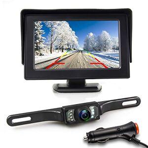 JPP Kit de cámara de respaldo y monitor, visualización LCD TFT de 4,3 pulgadas para visión nocturna impermeable, cámara de visión trasera de 5 pulgadas HD para coche, RV, camión, camioneta, furgoneta, camioneta o camioneta