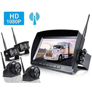 ZEROXCLUB Kit de sistema de cámara de respaldo inalámbrico HD1080P con cámara de visión trasera inalámbrica, sin interferencias, IP69 impermeable + monitor LCD inalámbrico de 9 pulgadas para RV/Camion/Trailer/Bus/Pickup/Van-W904
