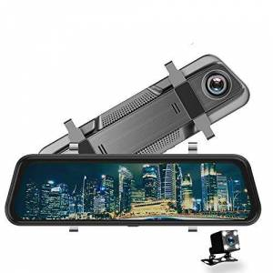 Firehorse Cámara de salpicadero para Coche de 10 Pulgadas, cámara Frontal y Trasera con Espejo de cámara 1080P, 2 cámaras, grabadora de conducción.