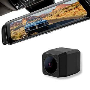 SDRFSWE 10 Pulgadas De Pantalla De Lente Dual Frontal Grabadora De Video Cámara Segura IPS Grabadora De Conducción De Automóviles Espejo Retrovisor Auto HD Dash CAM