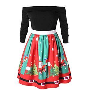 Exte Vestido de Manga Larga con Cuerno de Navidad para Mujer con Hombros Descubiertos, Multicolor, XL
