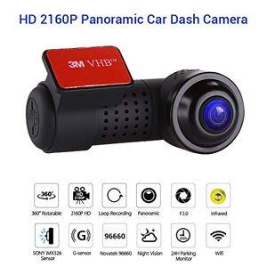SDRFSWE Dash CAM HD Coche DVR Cámara Panorámica De 360 Grados Visión Nocturna 2160P Sony IMX326 WiFi Vehículo G-Sensor Grabadora De Conducción,64GB