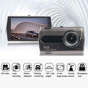 SDRFSWE Cámara del Coche 4 Pulgadas Full HD 1080 Doble Lente Frente Y Parte Trasera Cámara De Video Tablero De Instrumentos Conducción Grabadora Ciclo Grabación Auto Dash CAM,With16GTFCard