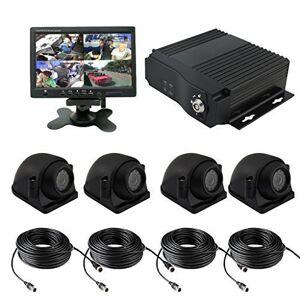 TrackSec . Grabadora DVR móvil de 4 Canales AHD 720P H.264 con Sensor G, Kit de Caja Negra, 4 cámaras de visión Lateral, Monitor de Coche de 7 Pulgadas, Cables de extensión de vídeo y más