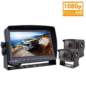 JOINLGO Sistema de cámara de seguridad de 2 canales para coche, monitor AHD de 7 pulgadas, kit de grabadora DVR integrada, 2 unidades 720P AHD, cámara de visión trasera para camión, furgoneta, remolques, autobús, RV