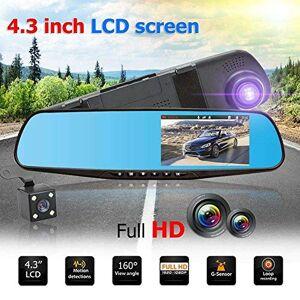 "SDRFSWE 4.3 \""TFT Dual len HD SUV DVR Video Dash Cámara 1080P Impermeable G-Sensor Video Tacógrafo CAM CAM Recorder Grabadora"