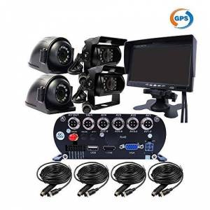 JOINLGO 4-CH GPS 2.0MP 1080P AHD HDD vehículo móvil DVR MDVR Video Grabadora Kit de grabación en tiempo real impermeable Vista lateral frontal trasera 4 cámaras IR coche 7 pulgadas VGA monitor para autobús camión RV Van