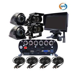 JOINLGO 4 canales GPS 2.0 MP 1080P AHD HDD para vehículo móvil DVR MDVR videograbador en tiempo real, impermeable, visión lateral delantera trasera, 4 cámaras IR de 7 pulgadas VGA monitor de coche para autobús, camión, caravana y furgoneta