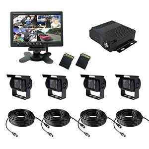 TrackSec 4canales AHD 720P H.264DVR móvil grabadora Kit de caja de coche, color negro, soporte GPS de seguimiento y G-sensor4Cámaras de coche, 7inch Monitor de coche, cables de extensión de vídeo y más