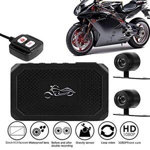 Veecome Cámara de visión para motocicleta HD 1080P+720P frontal + cámara de visión trasera DVR