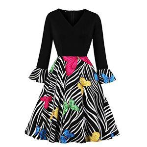 Exte Vestido de Manga Larga con Estampado de Mariposas y Cuello en V para Mujer, Negro, M