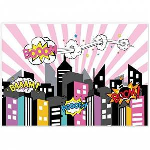 Allenjoy 7x5ft photography backdrops superhero super hero city buildings girls birthday party event banner photo studio booth background baby shower photocall