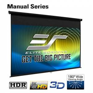 Elite Screens M92UWH Serie Manual Pantalla de Proyección Retráctil con Sistema de Auto Bloqueo, 92 Pulgadas, Diagonal 16:9