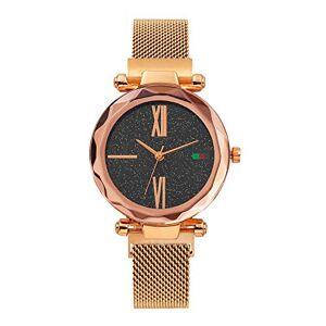 Longxs Mujeres Impermeable Reloj De Dama Cielo Estrellado Moda Confort Piel Suave Elegancia Sencillez. Adecuado para Cumpleaños, Aniversario, Día De La Madre Oro Rosa (Carcasa De Aleación)