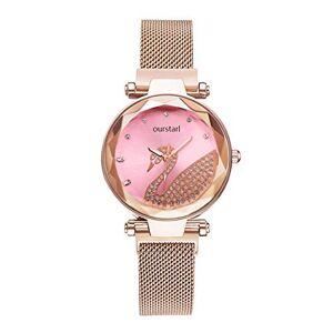Longxs Mujeres Impermeable Reloj De Dama Diamante Cisne Lujo Negocios Ocio Elegancia. Adecuado para Cumpleaños, Aniversario, Día De La Madre Rosa (Concha De Oro Rosa)