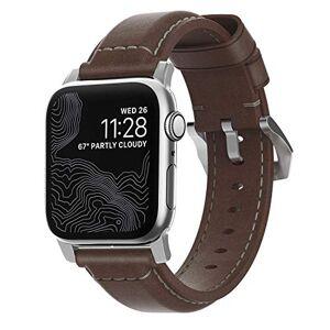 NOMAD Correa Tradicional de Cuero para Apple Watch 42/44mm Marrón/Plata