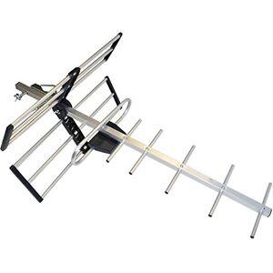 Master - Antena Exterior, Fabricada en Aluminio diseñada para captar señal de TV Digital Cuenta con 12 Elementos e Incluye 10 Metros de Cable coaxial